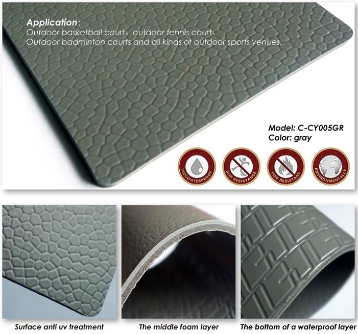 Sports vinyl flooring for outdoor badminton court pvc for Exterior linoleum flooring