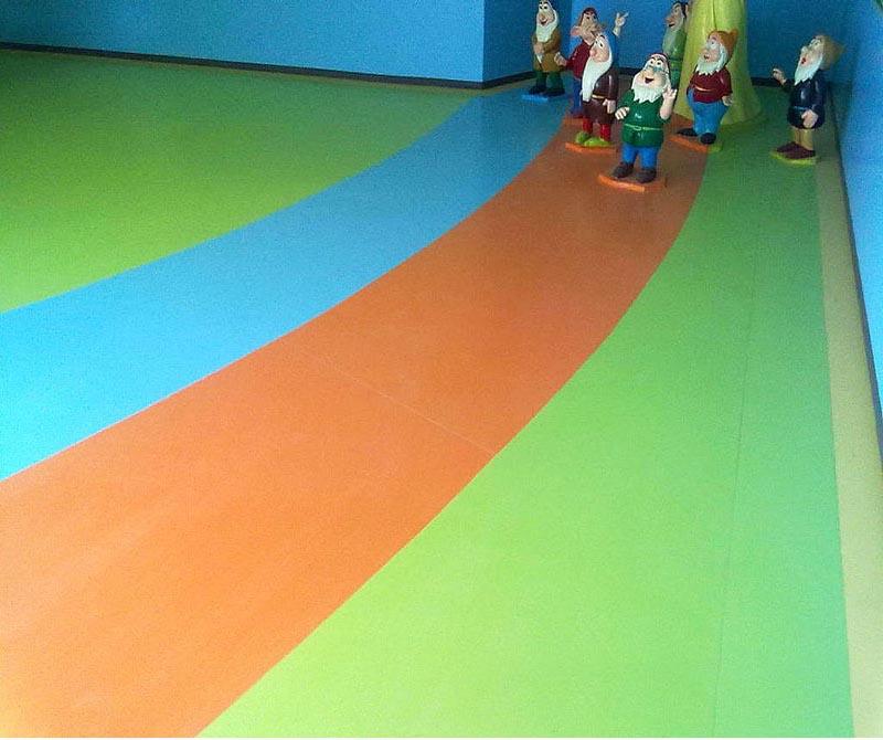 Bright Orange Pvc Flooring For Children S Fairyland