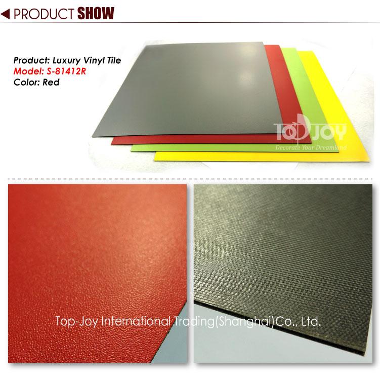 Rich Fire-engine Red Solid Color Vinyl Tile Flooring - TopJoyFlooring